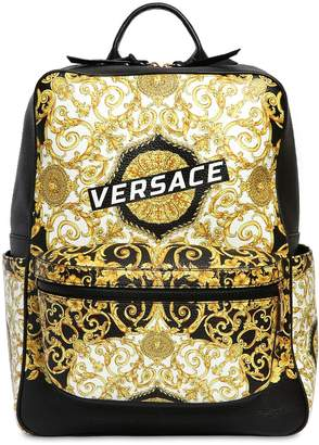 Versace Logo Baroque Print Leather Backpack