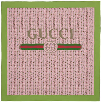 Gucci Pink Silk Flowers Scarf