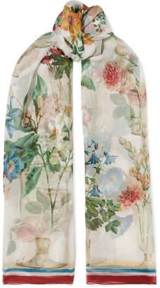 Dolce & Gabbana Floral-print Silk-chiffon Scarf - Ivory