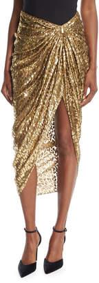 Michael Kors Metallic Cheetah Fil Coupe Sarong Skirt