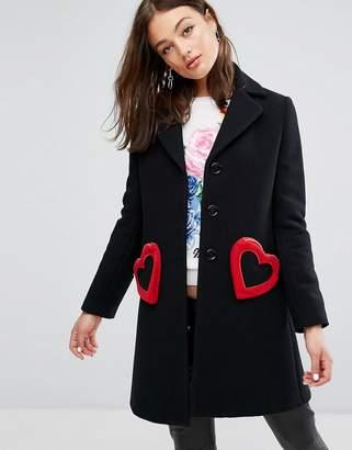 Love Moschino Heart Pocket Wool Mix Tailored Coat