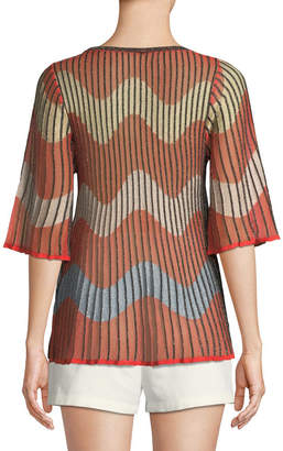 M Missoni Metallic Wave Intarsia-Knit Top