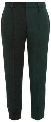 Undercover Mid Rise Wool Jersey And Canvas Capri Trousers - Womens - Dark Green