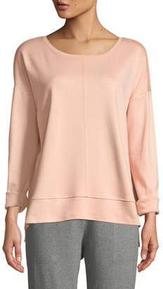 Eileen Fisher Ballet-Neck Long-Sleeve Cotton Interlock Top, Petite