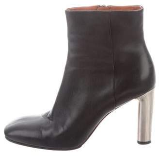 Celine Leather Square-Toe Ankle Boots Black Leather Square-Toe Ankle Boots