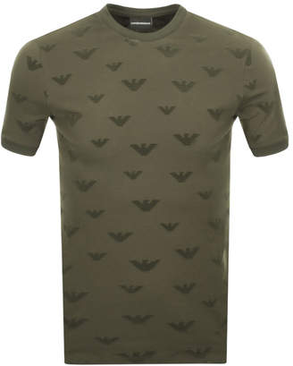Giorgio Armani Emporio Crew Neck Logo T Shirt Green
