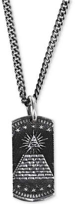 "King Baby Studio Men's Eye of Providence Dog Tag 24"" Pendant Necklace in Sterling Silver"
