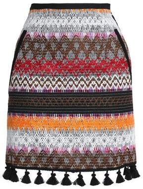 Nicholas Tassel-Trimmed Embroidered Canvas Mini Skirt