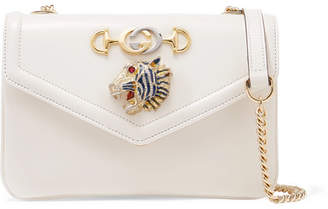 Gucci Rajah Embellished Leather Shoulder Bag - White