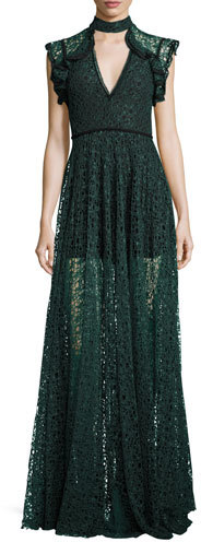 Alexis Alexis Eleanora Lace Cap-Sleeve Gown