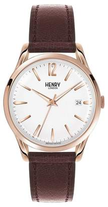 Richmond HENRY LONDON Henry London - Unisex Brown 'Richmond' Leather Strap Watch Hl39-S-0028