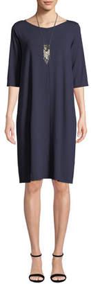 Eileen Fisher V-Neck Elbow-Sleeve Jersey Shift Dress