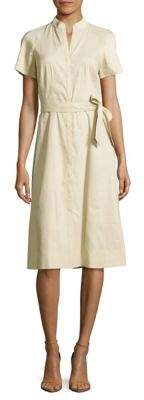 Lafayette 148 New York Braelyn Linen-Blend Button-Front Dress