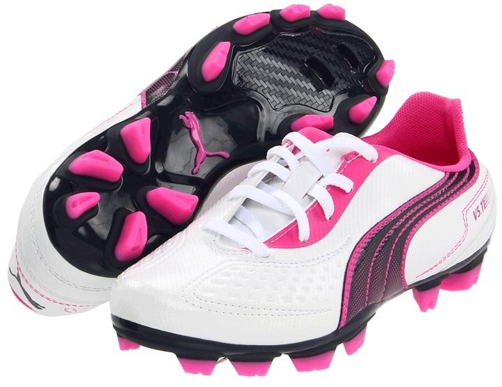 Puma Kids - V5.11 I FG Jr (Little Kid/Big Kid) (White/New Navy/Fluorescent Pink) - Footwear
