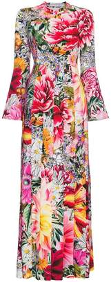 Mary Katrantzou Desmine paint by numbers print long dress