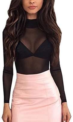 Women Sexy Mesh Sheer See Through Long Sleeve Tops Tee Blouse (S, )