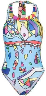 Planet Earth Ellie Rassia print high neck swimsuit