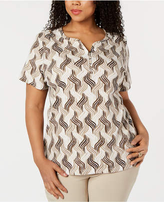 Karen Scott Plus Size Joyful Waves Henley Top, Created for Macy's