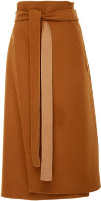 Deveaux High-Waisted Belted Wool Wrap Skirt Size: 4