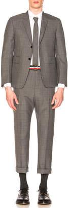 Thom Browne Classic Gingham Cool Wool Suit with Tie in Medium Grey | FWRD