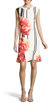 ECI Placement Print Sheath Dress