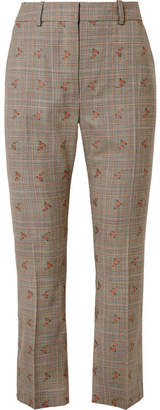 Altuzarra Embroidered Checked Wool-blend Straight-leg Pants - Beige