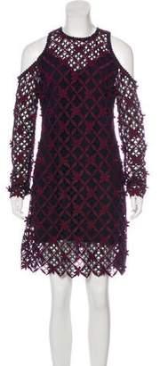 Self-Portrait Long Sleeve Cold-Shoulder Dress