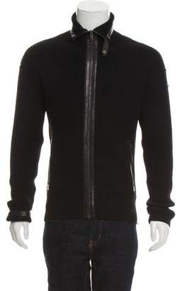 Gucci Leather Trimmed Zip-Up Sweater