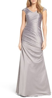 Women's La Femme Wrap Front Side Ruched Mermaid Gown $438 thestylecure.com