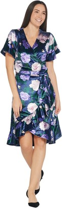 Isaac Mizrahi Live! Floral Printed Velvet Faux Wrap Dress