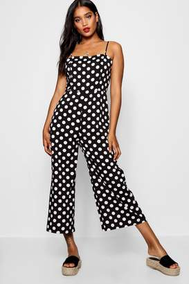 8fc1ee629aed boohoo Polka Dot Square Neck Jumpsuit