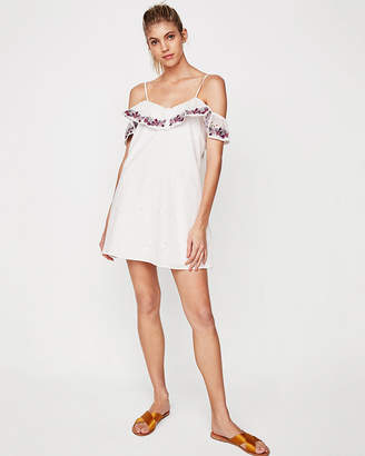 Express Cold Shoulder Embroidered Ruffle Shift Dress