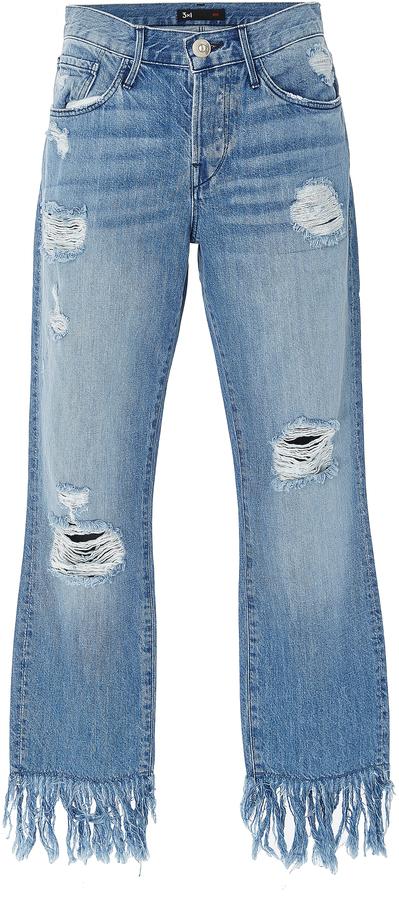3x13X1 Mid Rise Distressed Straight Leg Jeans