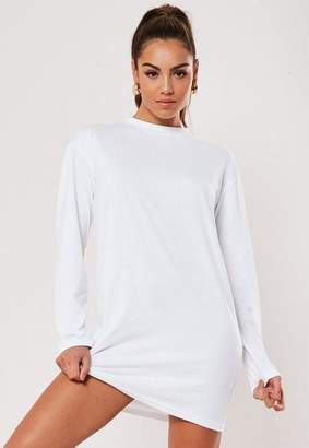 Missguided White Long Sleeve T-Shirt Dress