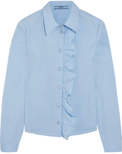 Prada - Ruffled Cotton-blend Poplin Shirt - Sky blue