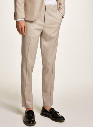 Topman Stone Textured Skinny Suit Trousers