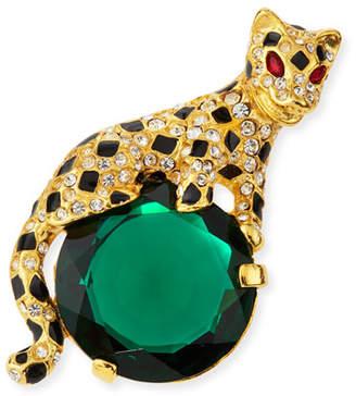 Kenneth Jay Lane Crystal Leopard Pin