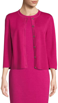 St. John 3/4-Sleeve Milano-Knit Button-Front Cardigan, Pink