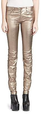 Saint Laurent Women's Mid Rise Metallic Leather Pants