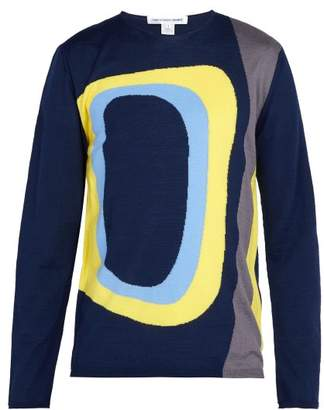 Comme des Garcons Abstract Intarsia Wool Blend Sweater - Mens - Navy