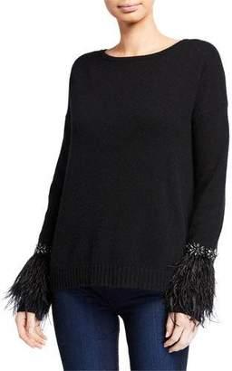 Neiman Marcus Cashmere Crewneck Sweater w/ Embellished Trim & Feather Cuffs