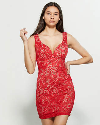 Emerald Sundae Red Lace Bodycon Dress