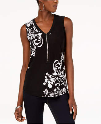 INC International Concepts I.n.c. Printed Zip-Front Top