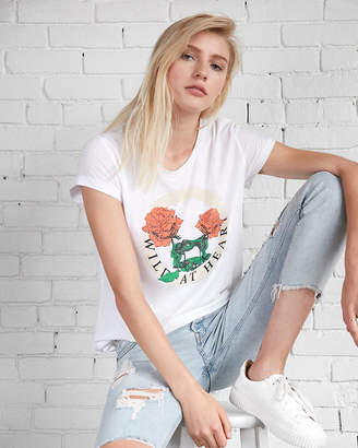 Express Wild At Heart Rose Boxy Graphic Tee