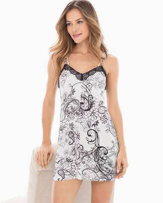Cool Nights Lace Trim Swing Sleep Chemise Filigree Scroll Ivory