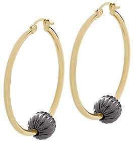 QVC 14K Gold Two-Tone Bead Station Hoop Earrings