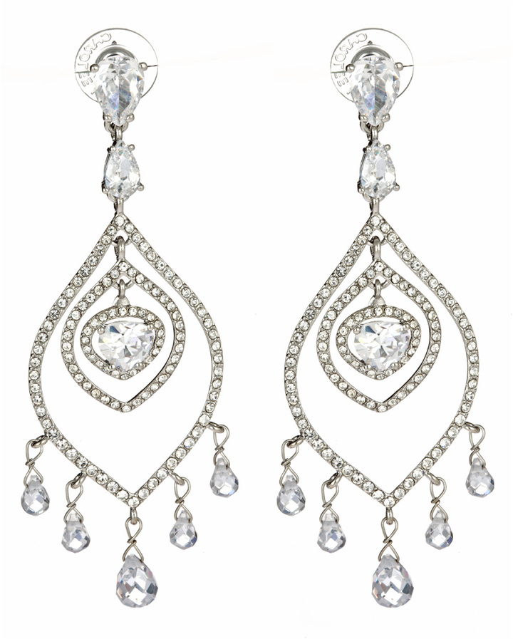 Carolee Crystal Feather Chandelier Earrings