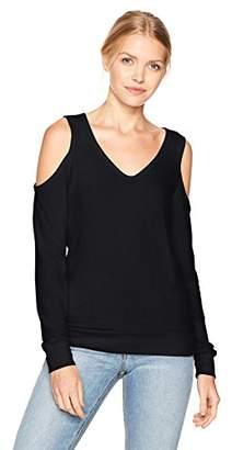 Michael Stars Women's Madison Brushed Jersey V-Neck Cold Shoulder Sweatshirt
