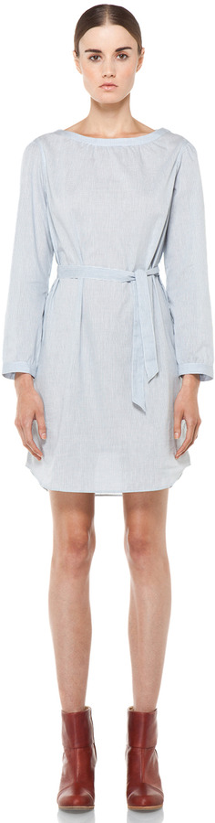 A.P.C. Carreaux Oxford Waist Tie Dress in Bleu Fonce