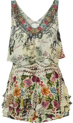 Camilla Memory Lane Embellished Printed Layered Silk Playsuit